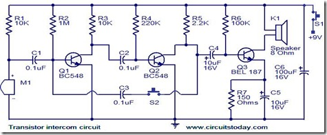 transistor-intercom-circuit