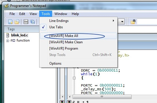 AVR Programming–Tutorial 3–Burning  hex file on to AVR chip