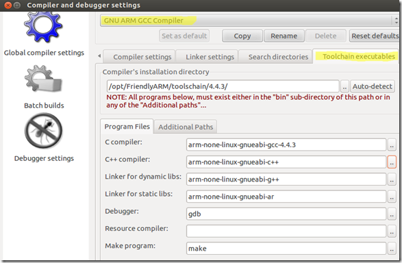 Compiler and debugger settings