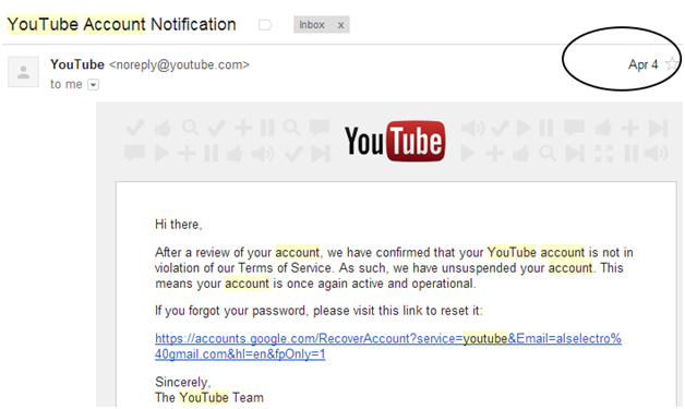 My YouTube account suspended for no reason | alselectro