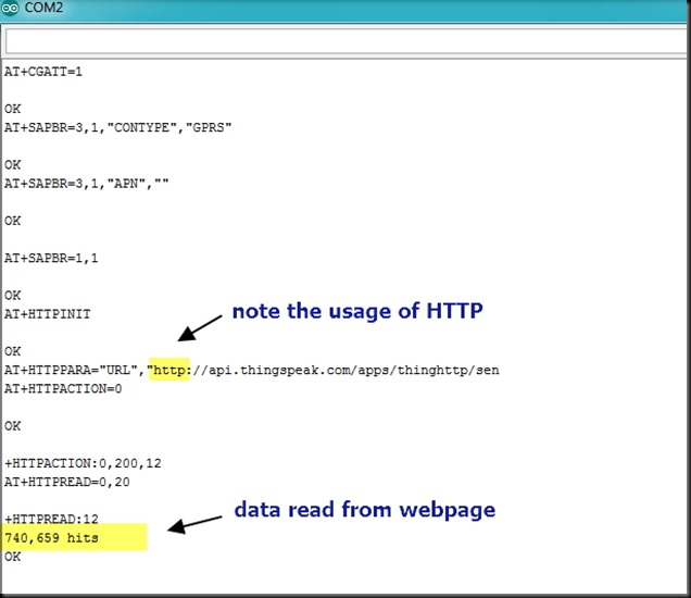 Retrieve Data from Webpage–HTTP GET REQUEST–using SIM900A