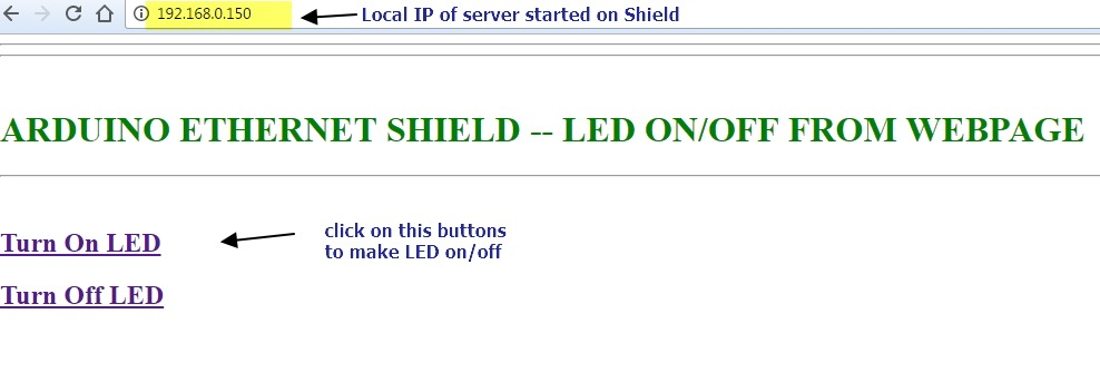 Arduino Ethernet Shield–LED ON/OFF from webpage | alselectro