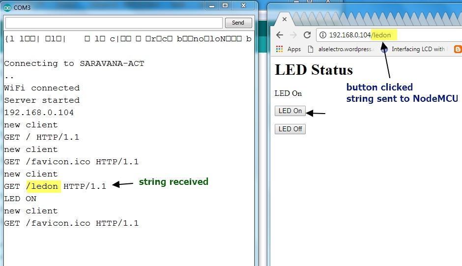 NodeMCU Arduino core 2  LED On/Off from WebBrowser | alselectro